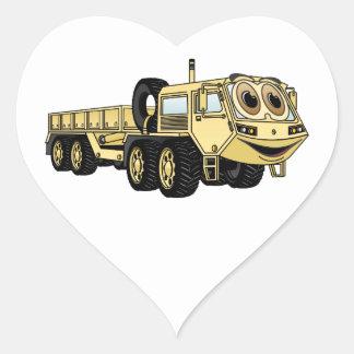 Military Truck Cartoon Heart Sticker
