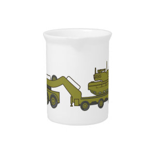 Military Truck pulling tank Beverage Pitchers
