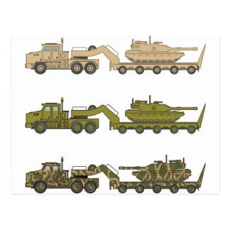 Military Truck pulling tank Postcard