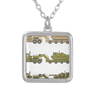 Military Truck pulling tank Silver Plated Necklace