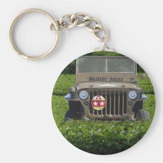 Military Vehicle Basic Round Button Keychain