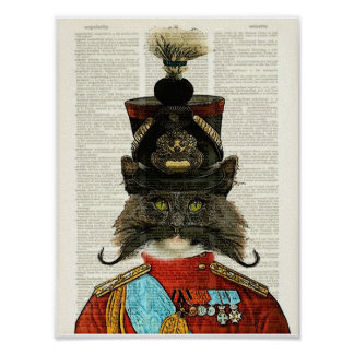 MILITARY VINTAGE CAT, PRUSSIAN GENERALCAT ARTPRINT POSTER