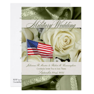Military Wedding Invitation Elegant White Roses