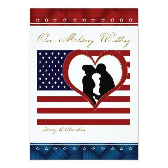 Military Wedding Invitation Flag Heart Silhouette