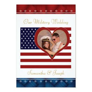 Military Wedding Invitation - Photo Flag Heart