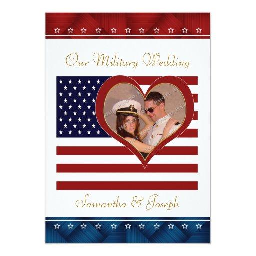 "Military Wedding Invitation - Photo Flag Heart 5"" X 7"" Invitation Card"