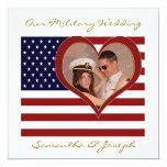 "Military Wedding Invitation - Photo Flag Heart 5.25"" Square Invitation Card"