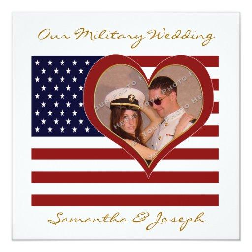 military wedding invitation photo flag heart zazzle
