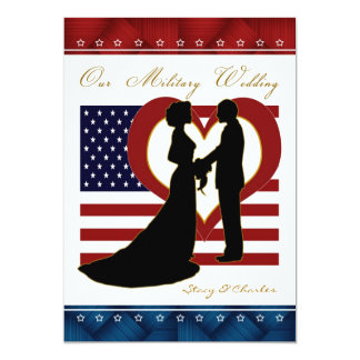 Military Wedding Invitation Silhouette Flag Heart