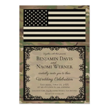 Military Wedding Invitation with Camouflage