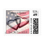 Military Wedding Patriotic American Save The Date Postage