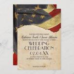 Military Wedding  Patriotic Vintage Flag Invitation
