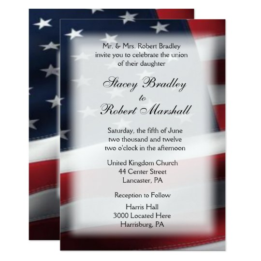 "Marine Wedding Invitations: Military Wedding Theme Wedding Invitations 5"" X 7"