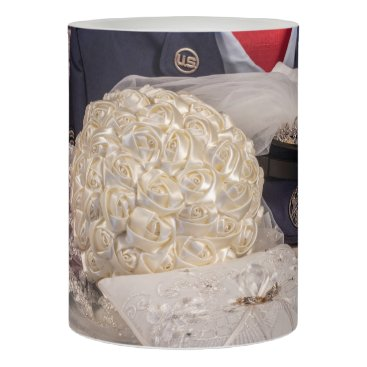 Military Wedding w/Bouquet, Rings, Veil LED Candle