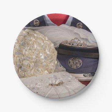 Military Wedding w/Uniform & Bouquet Paper Plates
