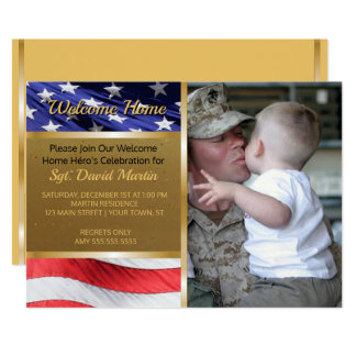 Military Welcome Home Party Flag Photo Invitation