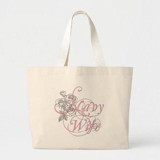 military wife rose large tote bag
