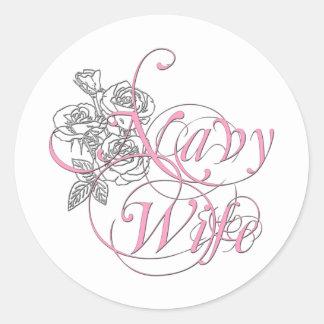 military wife rose round sticker