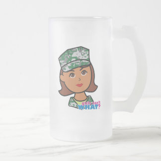 Military Woman Frosted Glass Beer Mug
