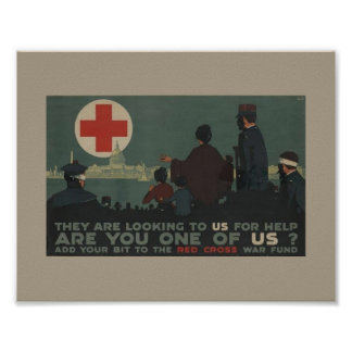 Military Women World War One Red Cross Poster