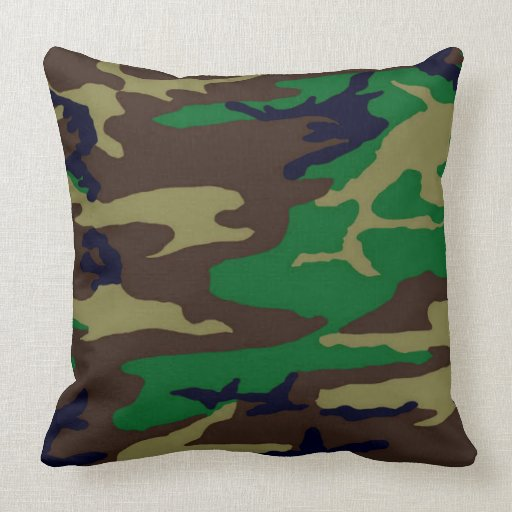 Camo Couch Throw Pillows : Military Woodland Camo Pillow Zazzle