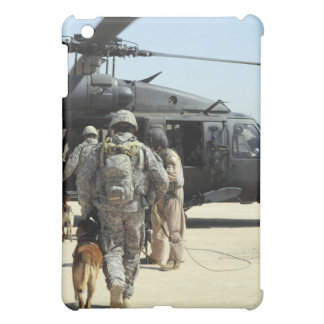 Military working dog handlers board a helicopte iPad mini cover