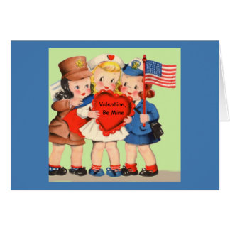 Military WWII WACS & WAVES Servicewoman Valentiine Greeting Card