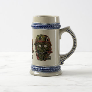 military zombie with knife in mouth beer stein