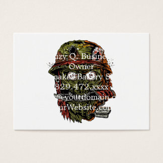 military zombie with knife in mouth business card