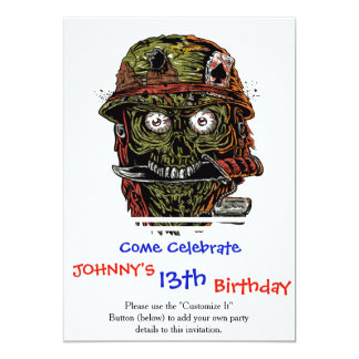 military zombie with knife in mouth card