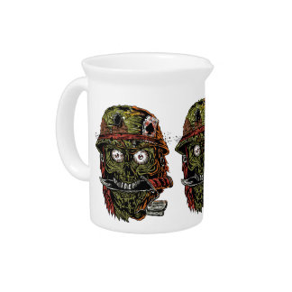 military zombie with knife in mouth drink pitcher