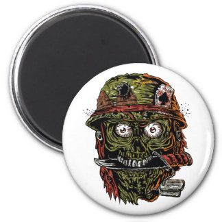 military zombie with knife in mouth magnet