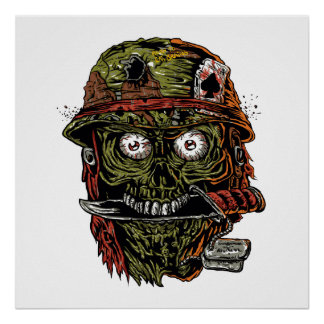 military zombie with knife in mouth poster