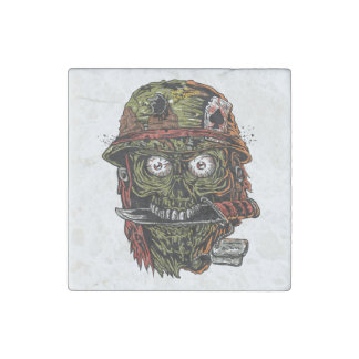 military zombie with knife in mouth stone magnet