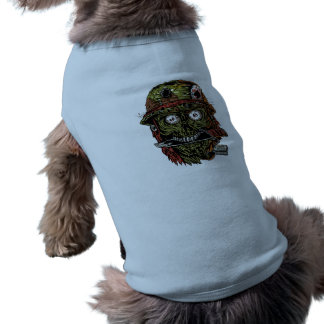 military zombie with knife in mouth T-Shirt