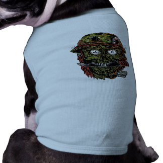 military zombie with knife in mouth tee