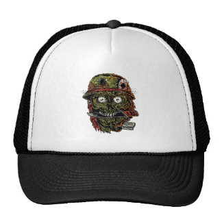 military zombie with knife in mouth trucker hat
