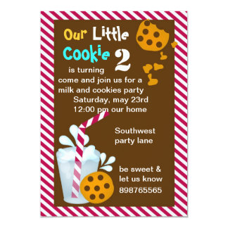 Milk and cookie birthday party invitation