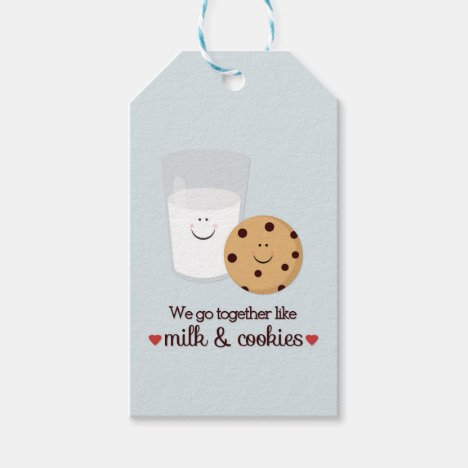 Milk and Cookie Valentine's Day Hanging Gift Tag