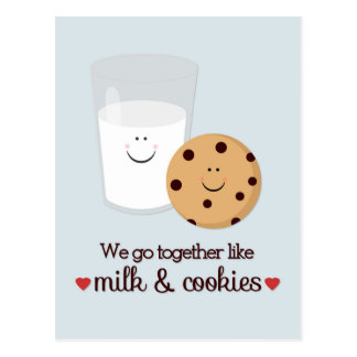 Milk and Cookie Valentine's Day Postcard