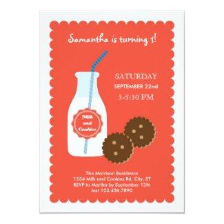 "Milk and Cookies Birthday Invitation 5"" X 7"" Invitation Card"