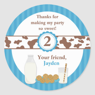 Milk and Cookies Birthday Party Classic Round Sticker