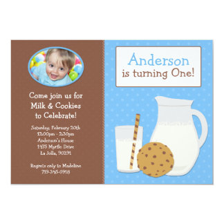 Milk and Cookies Birthday Party Invitation for Boy