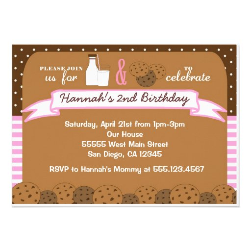 Milk and Cookies Birthday Party Invitations Girls