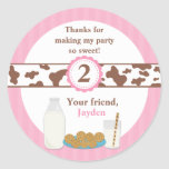 Milk and Cookies Birthday Party Stickers