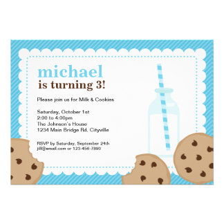 Milk and Cookies Blue and Brown Invite