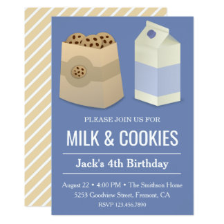 Milk and Cookies Blue Birthday Boy Party Invite