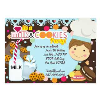 Milk and Cookies chocolate boys birthday party in Card