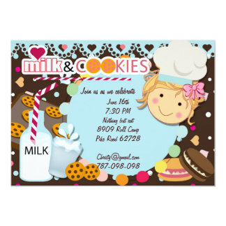 Milk and Cookies chocolate girls birthday party in Card