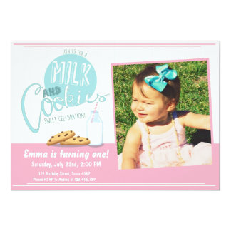 Milk and Cookies Invitation Birthday Party Invite